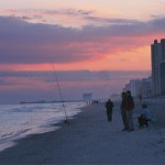 Fishing on the beach at Myrtle Beach, South Carolina