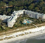 Windsor Place, Hilton Head Island aerial photo showing the beach and condo building/complex